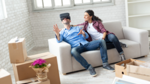 couple using VR on couch